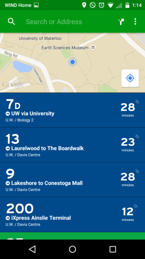 You can see all operating bus lines near you or any location you input.