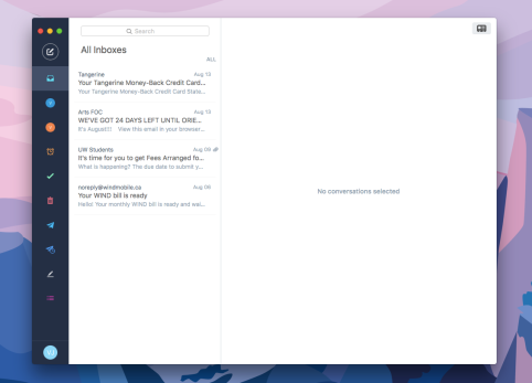 Example of what my combined Gmail and Hotmail inboxes look like.