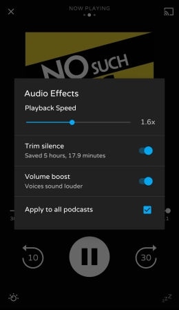 Screenshot of podcast app with settings to adjust playback speed.